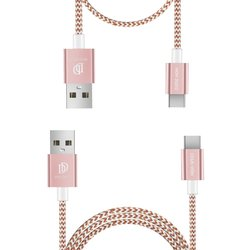 [Pachet 2x] Cablu de date Type C Dux Ducis K-TWO 1m/2A, 0.2m/3A - Roz