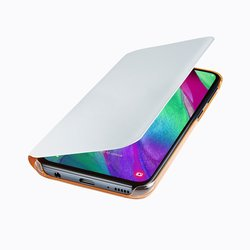 Husa Originala Samsung Galaxy A40 Flip Wallet White