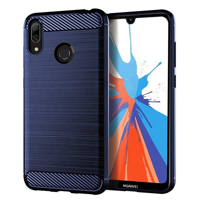 Husa Huawei Y7 2019 TPU Carbon Albastru