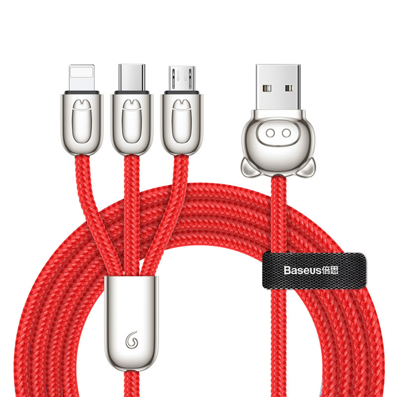 Cablu de date 1.2M 3in1 Baseus Little Pigs USB-C, Lightning, Micro-USB - Rosu CAMLT-PG09