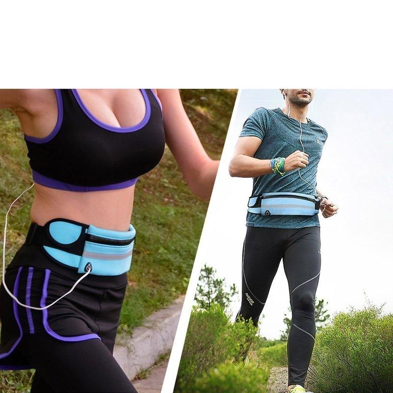 Husa Alergare Tip Curea Jogging Ajustabila Cu Suport Sticla Apa, Telefon, Chei - Negru