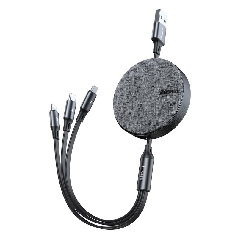 Cablu De Date 3in1, Type C, Lightning, Micro USB Baseus Fabric - Gri CAMLT-BYG1