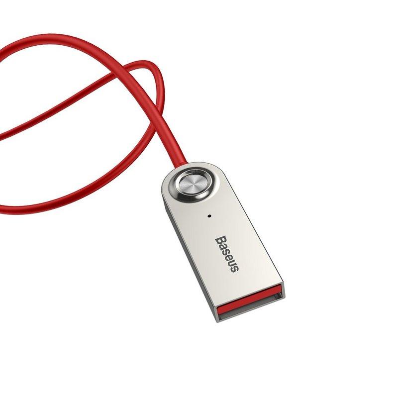 Adaptor Bluetooth Jack 3.5mm Inlocuitor Wireless Cablu Auxiliar Baseus BA01 - CABA01-09 - Rosu
