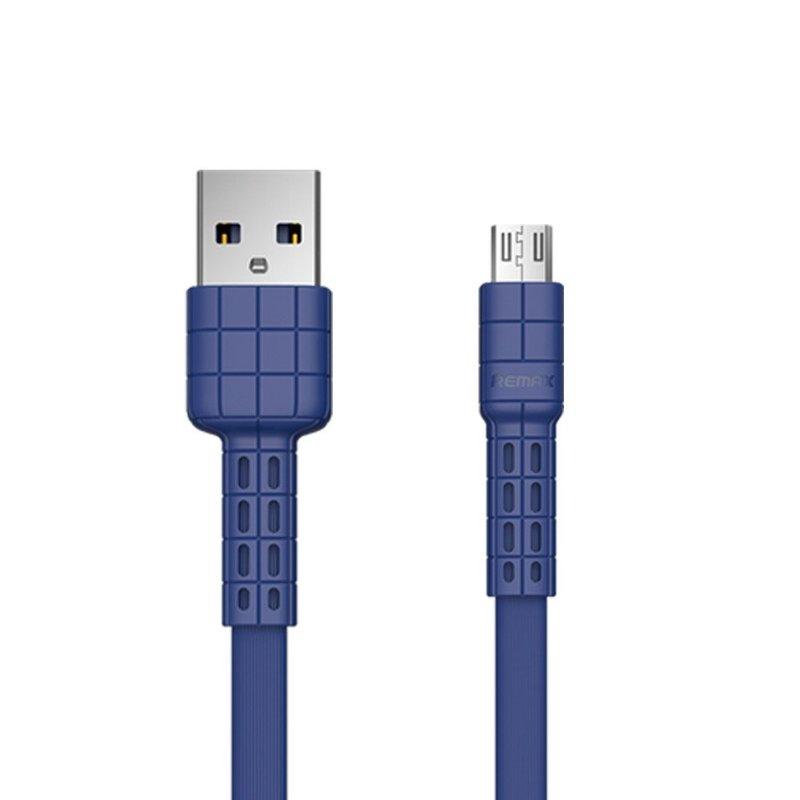 Cablu de date Micro-USB Remax Flat RC-116m, 1M, 2.4A - Albastru