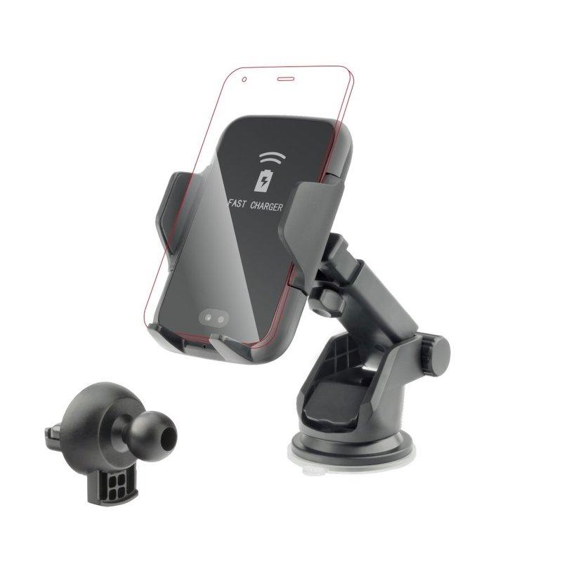 Suport Auto Cu Functie De Incarcare Wireless Forcell Automatic + Cablu Type C - Negru