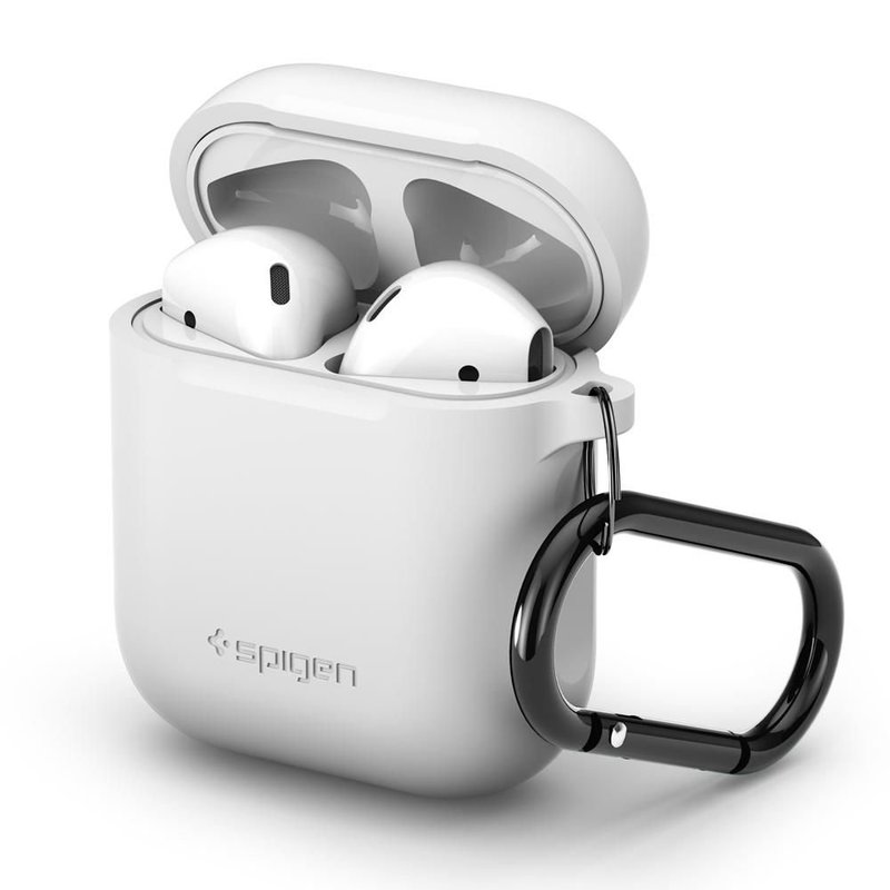 Husa Pentru Apple Airpods Din Silicon Spigen + Carabina Metalica De Prindere - White