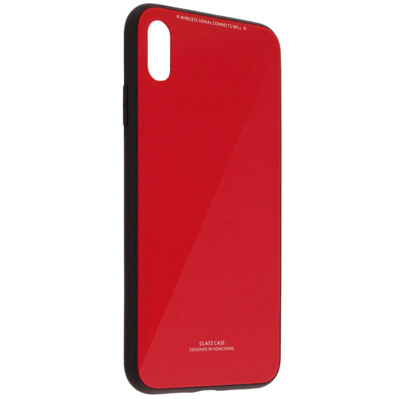 Husa iPhone XS Max Glass Series - Rosu