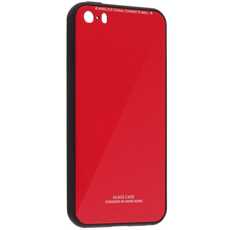 Husa iPhone 5 / 5s / SE Glass Series - Rosu