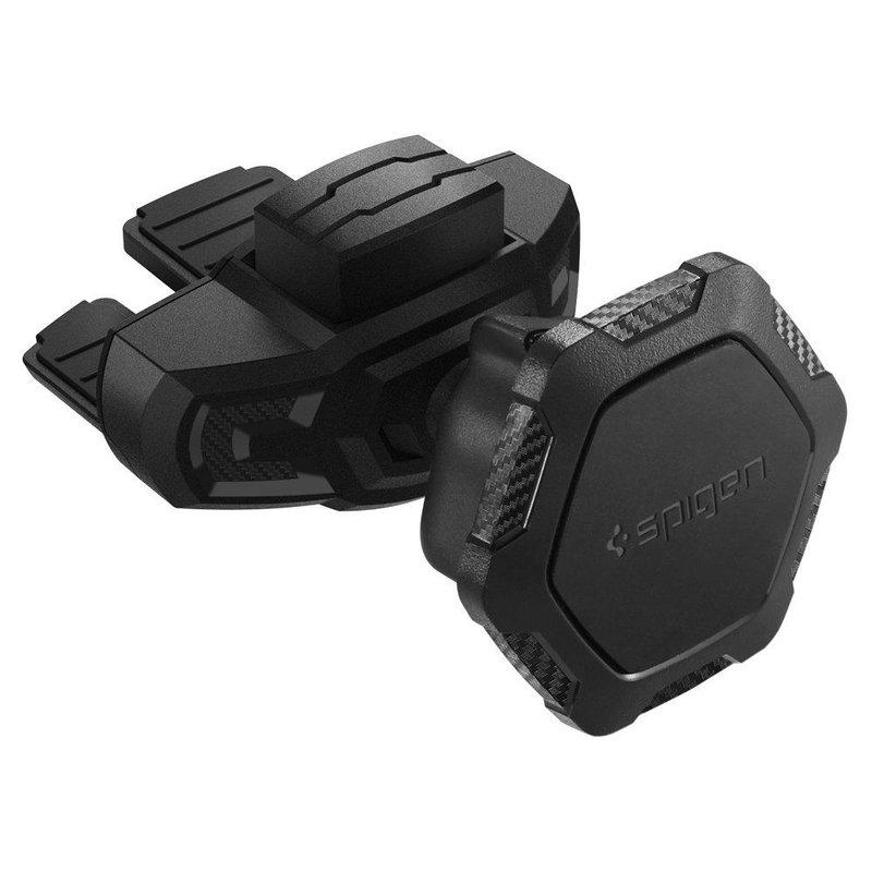 Suport Auto Magnetic Spigen QS24 CD Player Pentru Telefon + 2x Placute Metalice - Negru