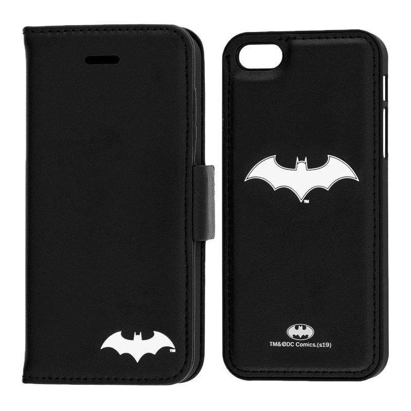 Husa Flip iPhone 5 / 5s / SE cu licenta DC Comics - White Batman Mark