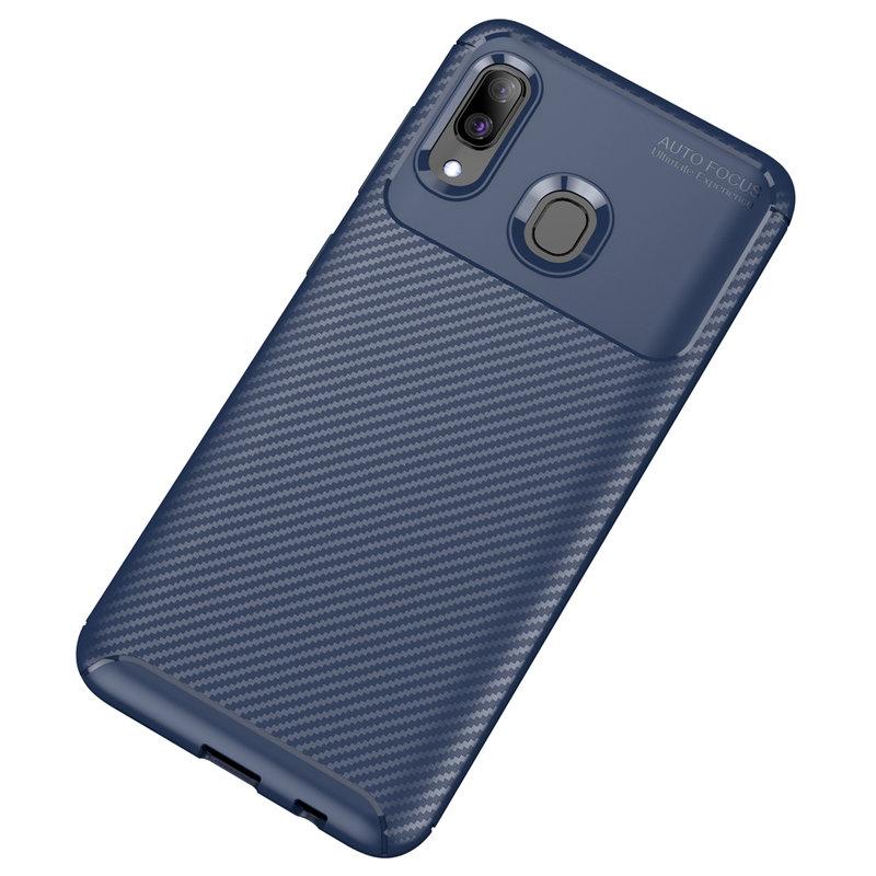 Husa Samsung Galaxy A40 Mobster Carbon Skin Albastru