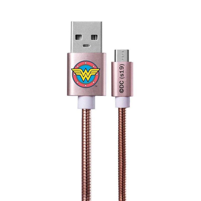 Cablu de date Micro-USB Metal Cu Licenta DC Comics, 1M, 2.4A - Pink Wonder Woman