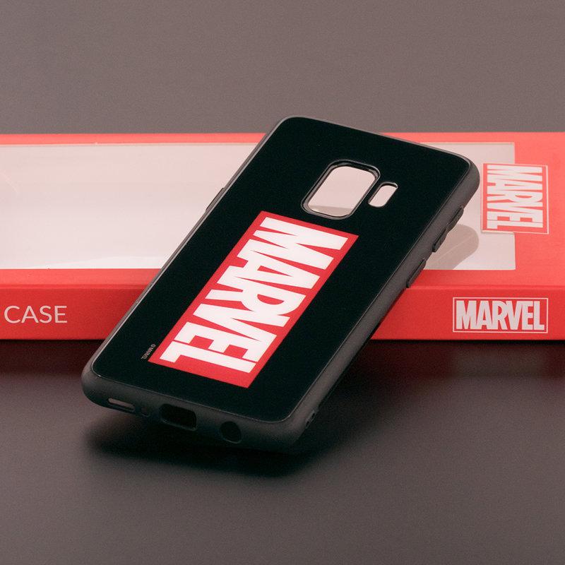 Husa Samsung Galaxy S9 Premium Glass Cu Licenta Marvel - Black Marvel Comics