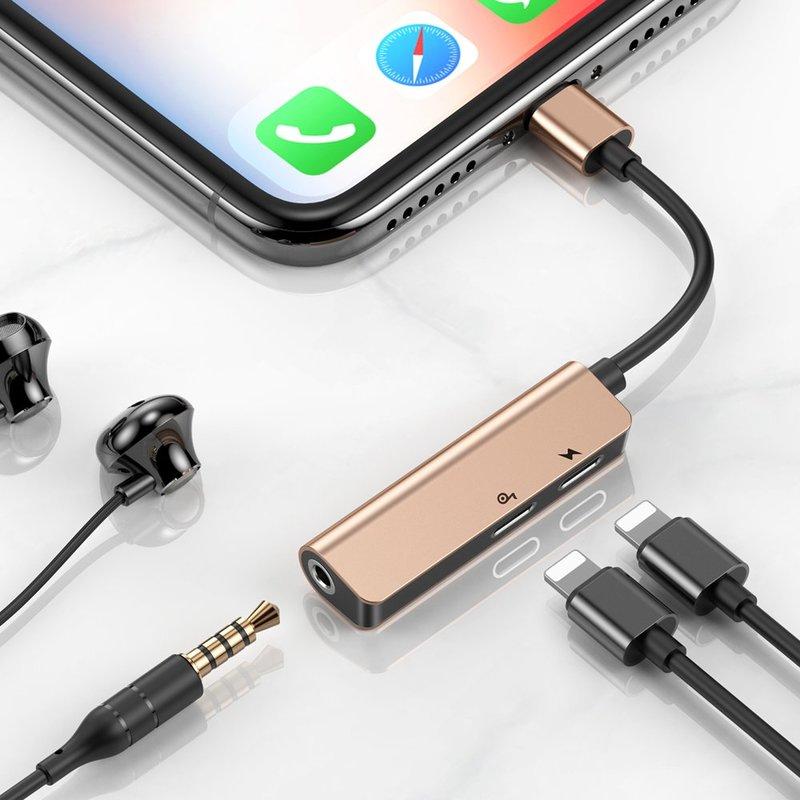Convertor audio Baseus L52, Lightning la 2x Lightning, Jack 3.5mm, auriu, CALL52-17
