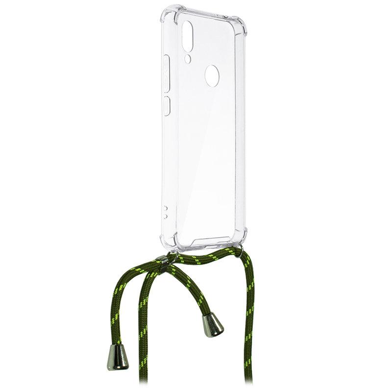 Husa Xiaomi Redmi Note 7 Cord Case Silicon Transparent cu Snur Verde