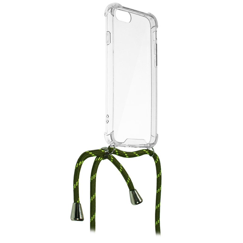 Husa iPhone 5 / 5s / SE Cord Case Silicon Transparent cu Snur Verde