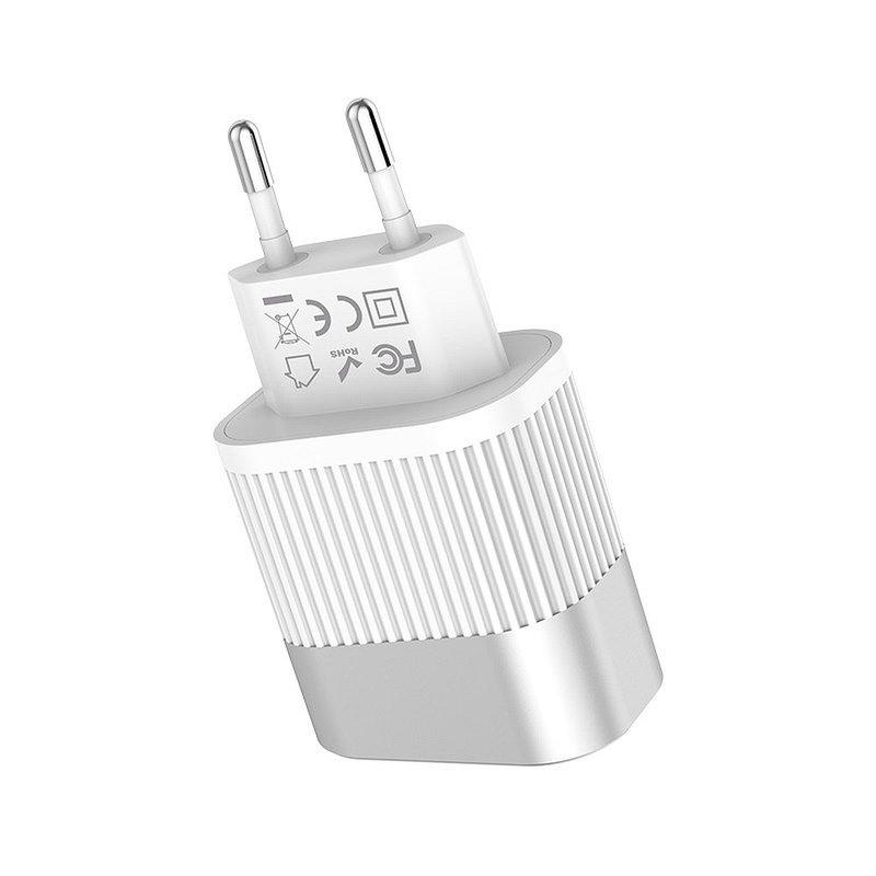 Incarcator Priza Hoco C40A, Dual USB, 2.4A – Alb