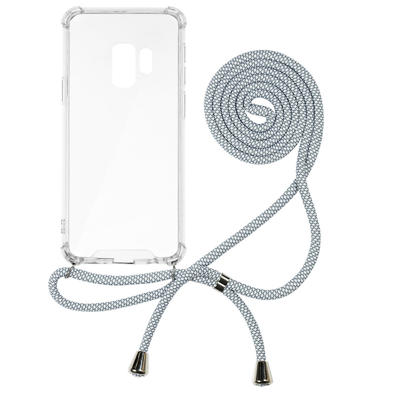 Husa Samsung Galaxy S9 Cord Case Silicon Transparent cu Snur Alb