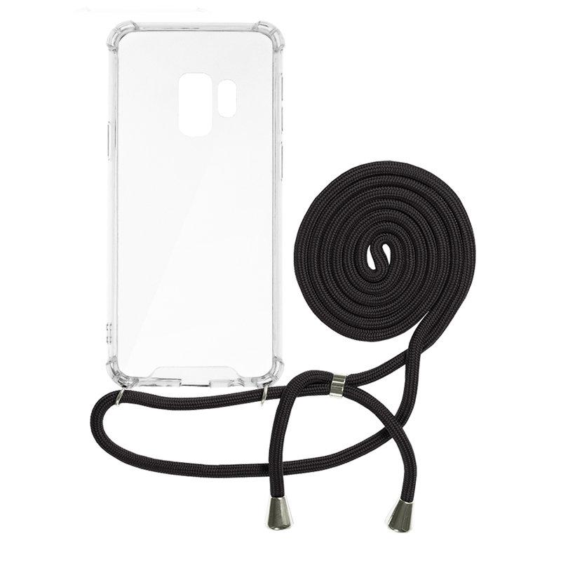 Husa Samsung Galaxy S9 Cord Case Silicon Transparent cu Snur Negru
