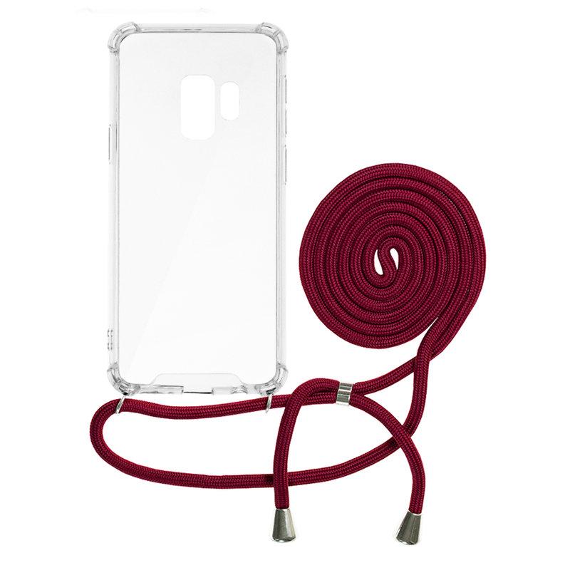 Husa Samsung Galaxy S9 Cord Case Silicon Transparent cu Snur Rosu