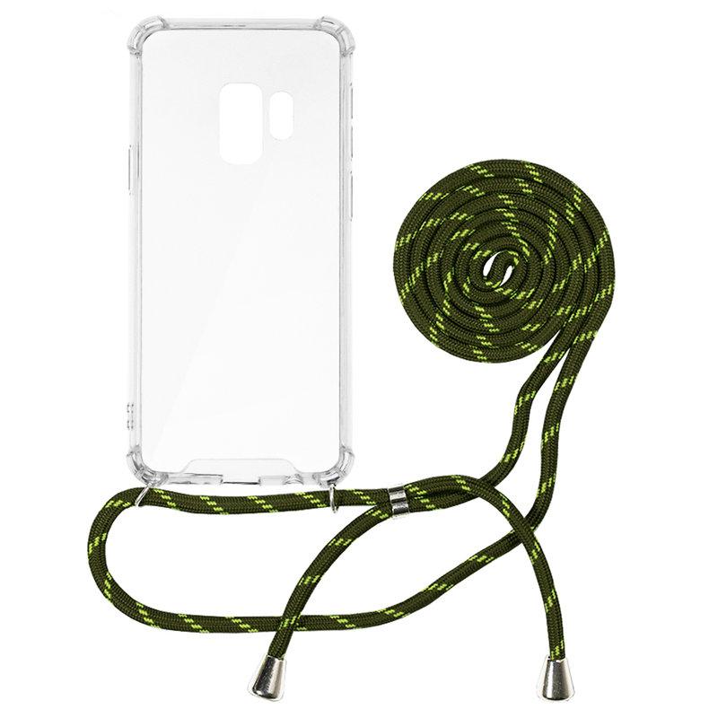Husa Samsung Galaxy S9 Cord Case Silicon Transparent cu Snur Verde