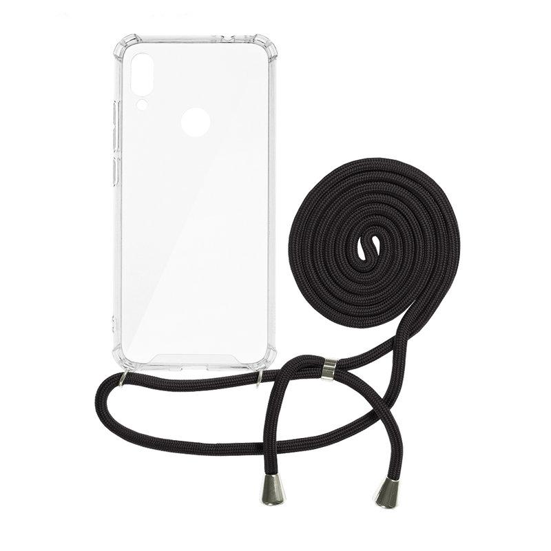 Husa Xiaomi Redmi Note 7 Cord Case Silicon Transparent cu Snur Negru