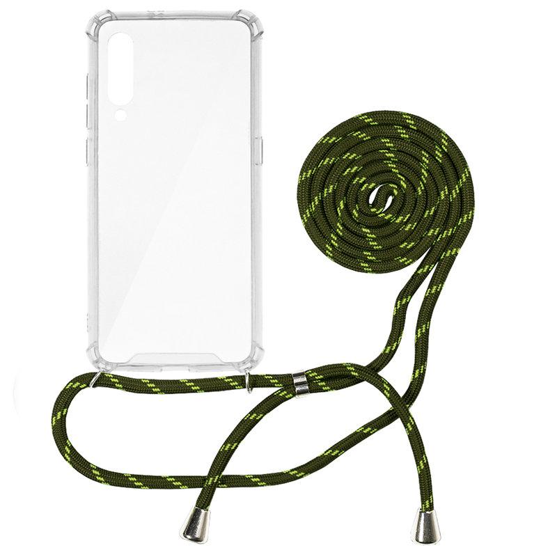 Husa Xiaomi Mi 9 Cord Case Silicon Transparent cu Snur Verde