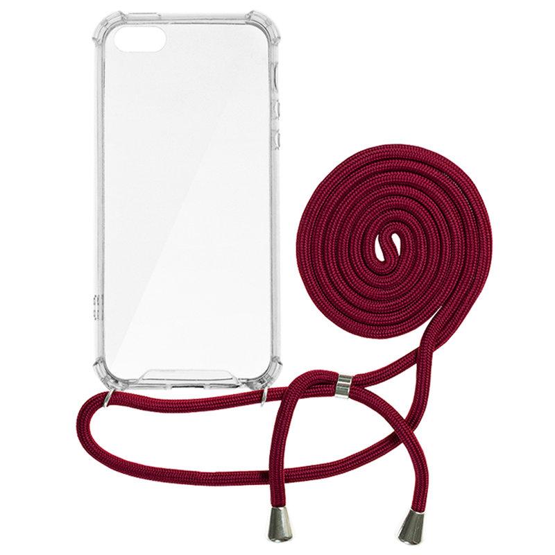 Husa iPhone 5 / 5s / SE Cord Case Silicon Transparent cu Snur Rosu