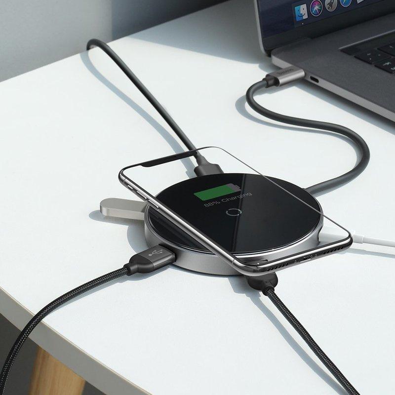 Incarcator Wireless / Docking Station HUB, Baseus 6in1, Cu Port HDMI 4K - Negru WXJMY-A0G