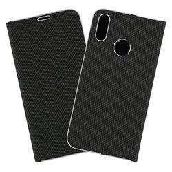 Husa Luna Book Huawei Y7 2019 Flip Carbon Negru