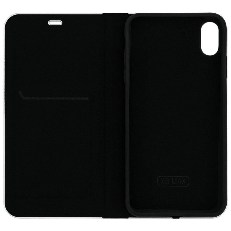Husa Luna Book iPhone XS Max Flip Carbon Negru