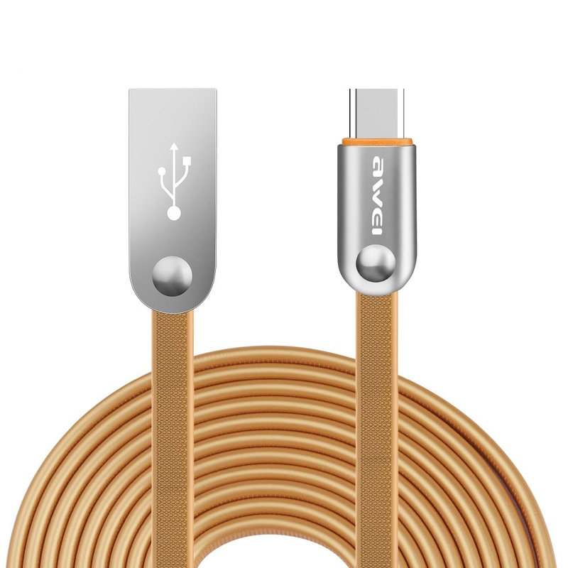 Cablu de date Awei CL-19 Type-C Fast Charge 3.0, 2M - Maro