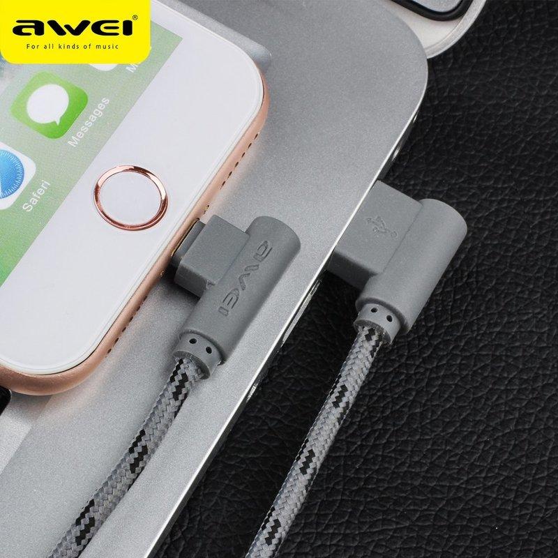 Cablu de date Awei CL-91Lightning, unghi conector de 90° - Gri