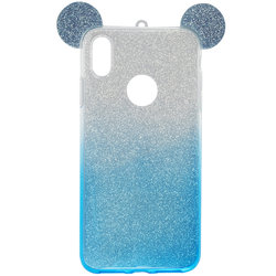 Husa iPhone XS Max Gradient Color TPU Mouse Bling Glitter - Albastru