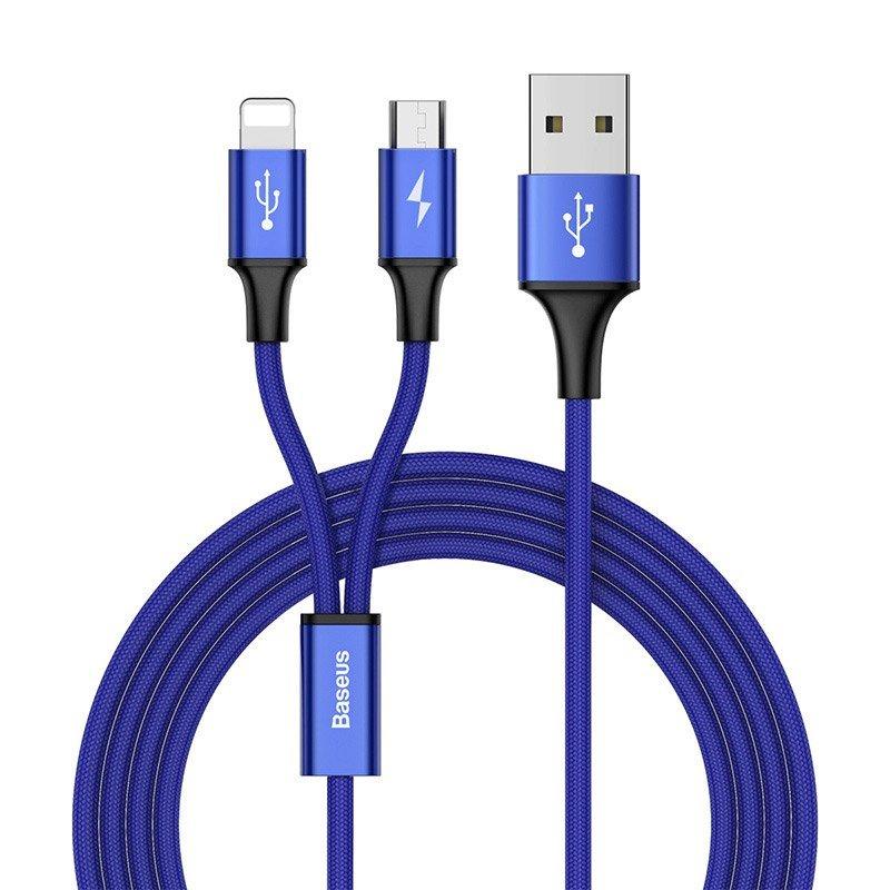 Cablu de date 1.2M, 3A, 2in1 Baseus Rapid Series Lightning/Micro-USB - CAML-SU13 - Blue