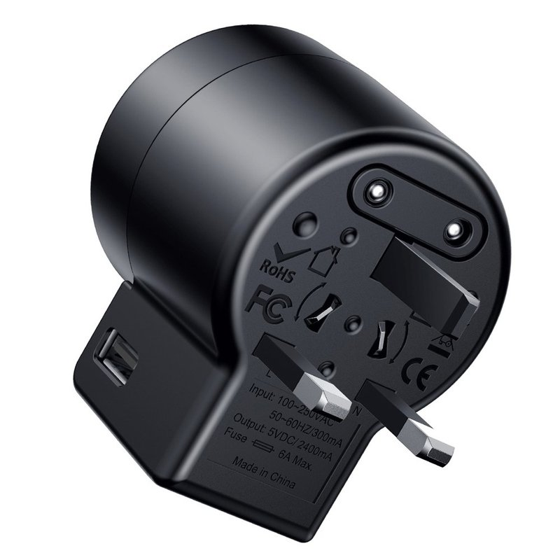 Incarcator priza Baseus Rotation Travel Adapter Universal EU/UK/USA/AUS 2xUSB - ACCHZ-01 - Black