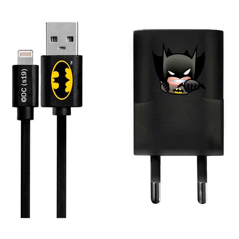 Incarcator Priza Cu Licenta DC Comics 1.0A + Cablu Lightning - Batman