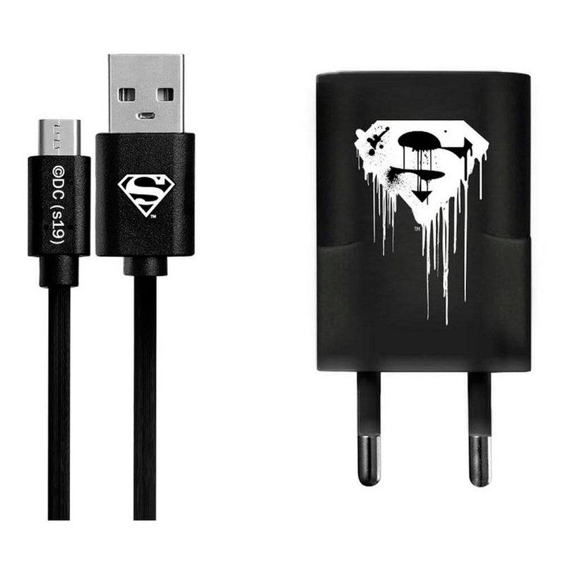 Incarcator Priza Cu Licenta DC Comics 1.0A + Cablu Micro-USB - Superman
