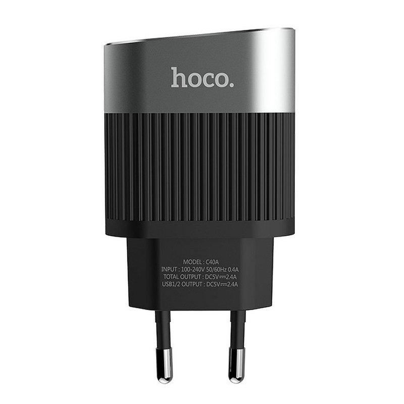 Incarcator Priza Hoco C40A, Dual USB, 2.4A – Negru