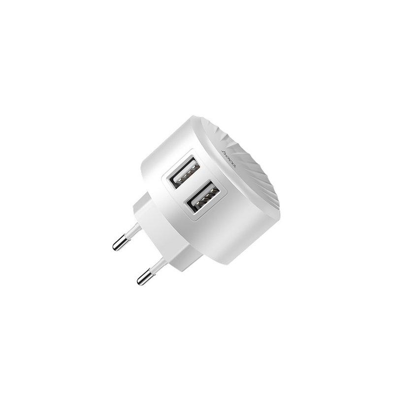 Incarcator Priza Hoco C67A Travel Charge Intelligent Balance Dual-USB 2.4A - White
