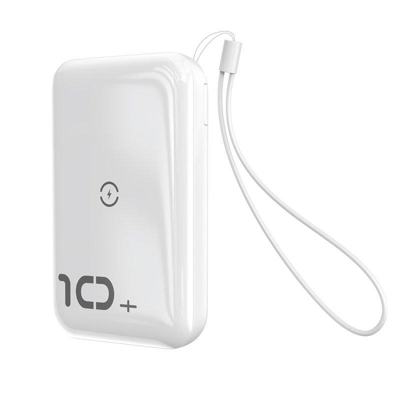 Baterie externa Baseus Mini S Bracket Power Bank 10000mAh 18W / Wireless Charger Qi 10W - White