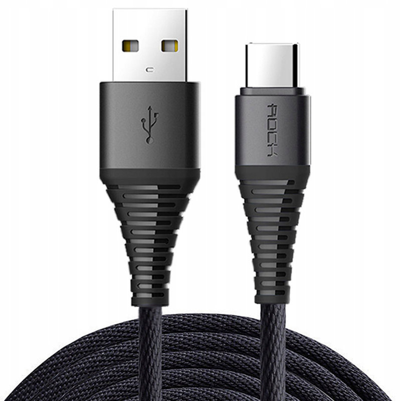 Cablu de date Rock Hi-Tensile Charge&Sync USB to Type-C - RCB0558 - Black