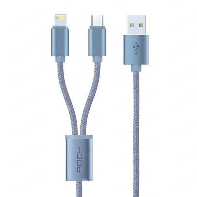 Cablu De Incarcare Rock Quick Charge 2in1 USB To Lightning / Type-C - RCB0477 - Tarnish