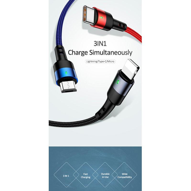 Cablu de date 3in1 USAMS U26 Lightning/Type-C/micro-USB - US-SJ318 - Multicolor