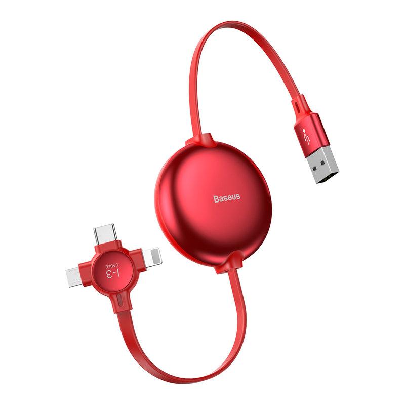Cablu de date 3in1 Baseus Little Octopus Lightning/Micro-USB/Type-C-CAMLT-AZY09 - Red