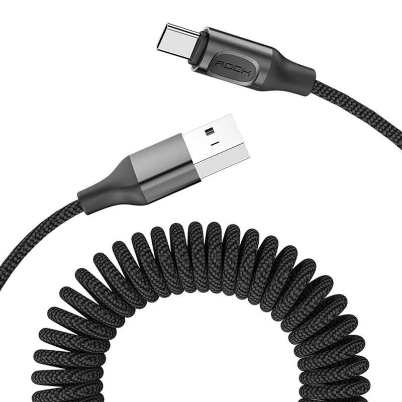 Cablu de date USB to Type-C Rock Stretchable Fast Charge 150cm -RCB0657- Negru