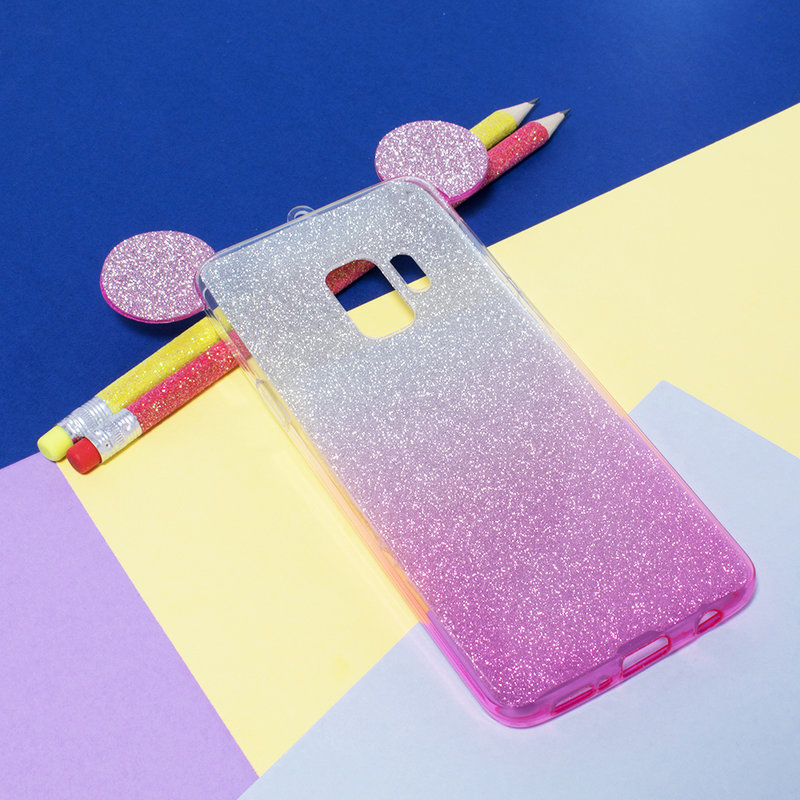 Husa Samsung Galaxy S9 Gradient Color TPU Mouse Bling Glitter - Roz