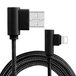 Cablu de date Rock USB to Lightning L-shaped Dual-End - RCB0519 - Black