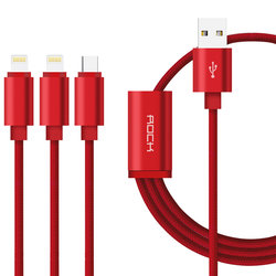 Cablu de date 3in1 Rock 1xMicro-USB + 2xLightning - RCB0466 - Red