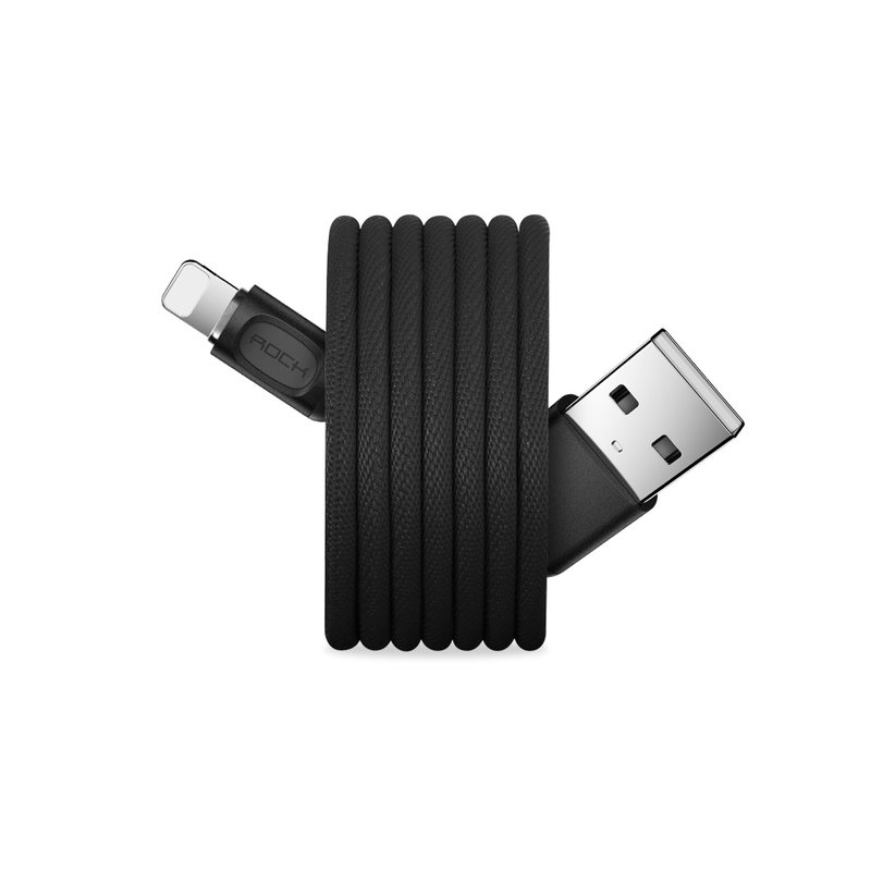 Cablu de date Rock USB to Lightning Metal Auto Disconnect - RCB0619 - Black